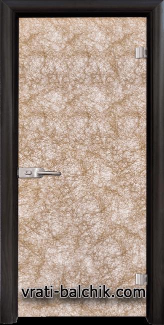 Стъклена интериорна врата модел Fabric G 12-1 Златен с каса Венге