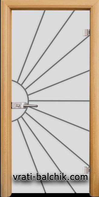 Стъклена интериорна врата модел Gravur G 13-2 с каса Светъл дъб