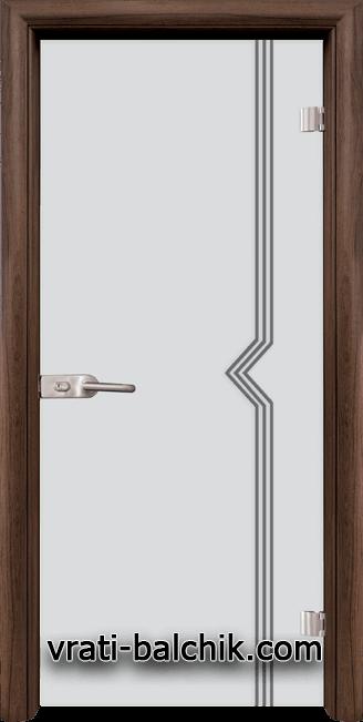 Стъклена интериорна врата модел Gravur G 13-3 с каса Орех