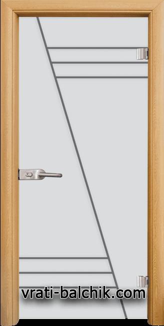 Стъклена интериорна врата модел Gravur G 13-4 с каса Светъл дъб