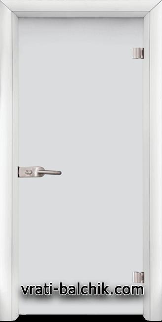 Стъклена интериорна врата модел Matt G 11 с каса Бяла