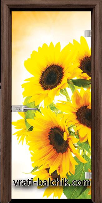 Стъклена интериорна врата модел Print G 13-4 с каса Орех