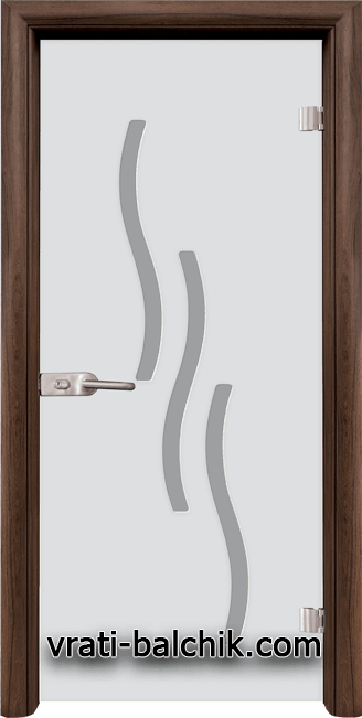 Стъклена интериорна врата модел Sand G 14-2 с каса Орех