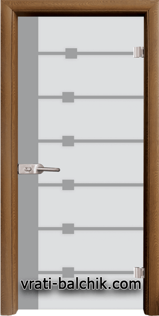Стъклена интериорна врата модел Sand G 14-5 с каса Златен дъб