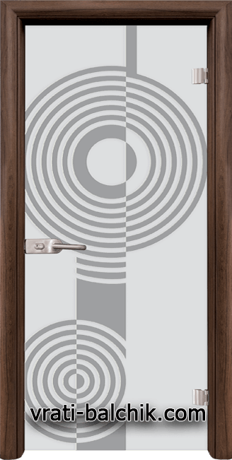 Стъклена интериорна врата модел Sand G 14-6 с каса Орех