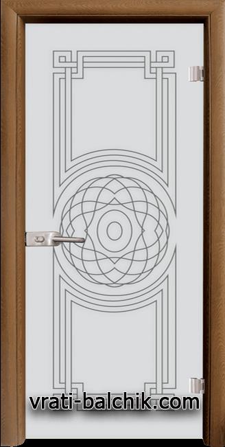 Стъклена интериорна врата модел Sand G 14-8 с каса Златен дъб
