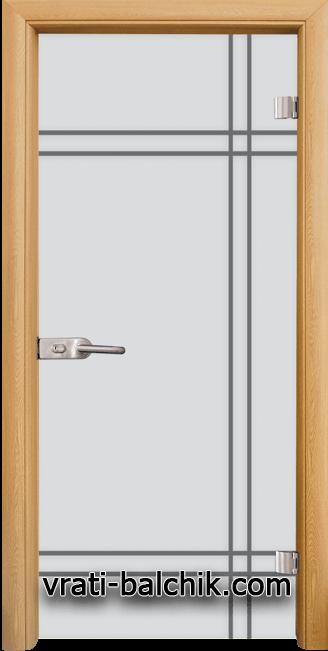 Стъклена интериорна врата модел Gravur G 13-8 с каса Светъл дъб