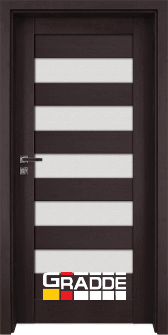 Интериорна HDF врата, модел Gradde Aaven Glas, Орех Рибейра